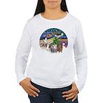XmasMagic-3 GuineaPigs Women's Long Sleeve T-Shirt