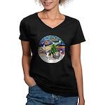 XmasMagic-2 Guinea Pigs Women's V-Neck Dark T-Shir