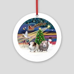 XmasMagic-2 Guinea Pigs Ornament (Round)