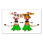 Sola and Luna - Hula Cows! Sticker (Rectangle)