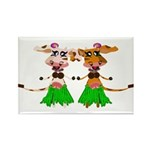 Sola and Luna - Hula Cows! Rectangle Magnet