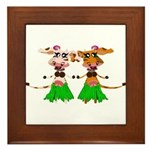 Sola and Luna - Hula Cows! Framed Tile