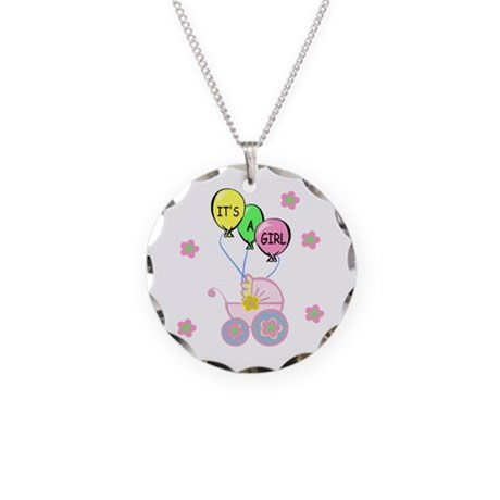 Its A Baby Girl Necklace Circle Charm