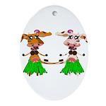 Luna and Sola - Hula Moo! Ornament (Oval)