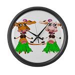 Luna and Sola - Hula Moo! Large Wall Clock