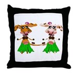 Luna and Sola - Hula Moo! Throw Pillow