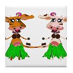 Luna and Sola - Hula Moo! Tile Coaster