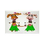 Luna and Sola - Hula Moo! Rectangle Magnet