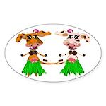 Luna and Sola - Hula Moo! Sticker (Oval)