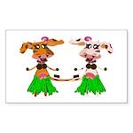 Luna and Sola - Hula Moo! Sticker (Rectangle)