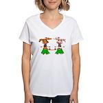 Luna and Sola - Hula Moo! Women's V-Neck T-Shirt