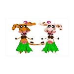 Luna and Sola - Hula Moo! 38.5 x 24.5 Wall Peel