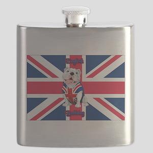 Union Jack English Bulldog Flask