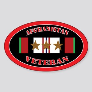 Afghanistan Veteran 3 campaign stars Sticker (Oval