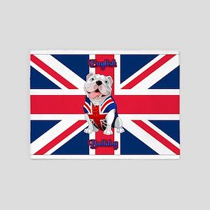 Union Jack English Bulldog 5'x7'Area Rug