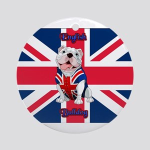 Union Jack English Bulldog Round Ornament