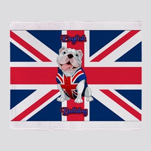 Union Jack English Bulldog Throw Blanket
