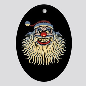 Scary Santa Clown Ornament (Oval)
