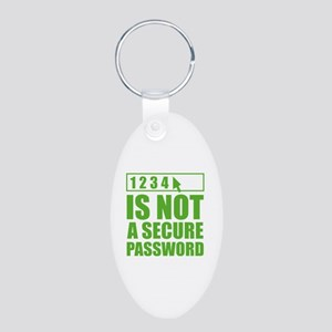 Not A Secure Password Aluminum Oval Keychain