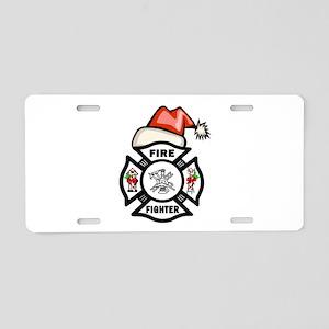 Firefighter Santa Aluminum License Plate