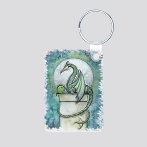 Green Dragon Fantasy Art Aluminum Photo Keychain