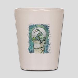 Green Dragon Fantasy Art Shot Glass