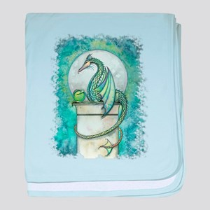 Green Dragon Fantasy Art baby blanket