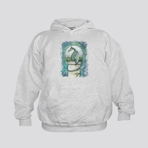 Green Dragon Fantasy Art Kids Hoodie