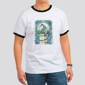 Green Dragon Fantasy Art Ringer T