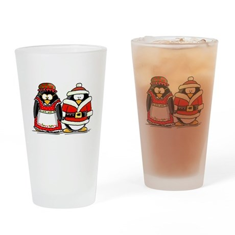 Mr. and Mrs. Claus Penguins Drinking Glass