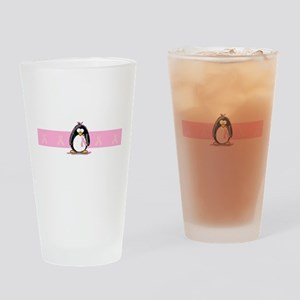 Pink Ribbon Penguin Drinking Glass