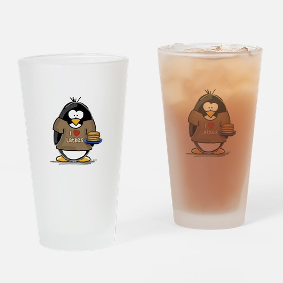 I Love Latkes Penguin Drinking Glass