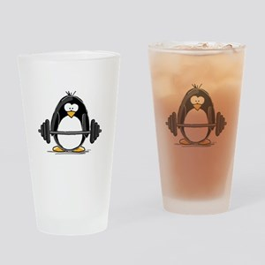 Weight lifting penguin Drinking Glass