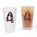 Pink Scooter Penguin Drinking Glass