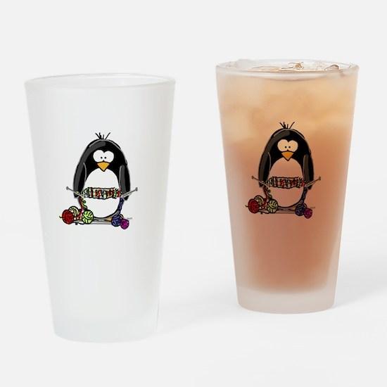 Knitting Penguin Drinking Glass