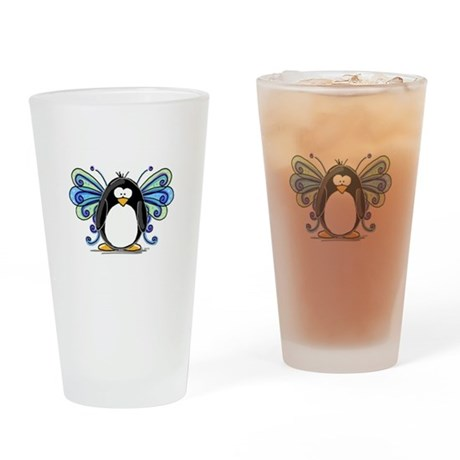 Blue Fairy Penguin Drinking Glass