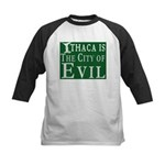 Ithaca Is The City of Evil | Kids Baseball Jersey