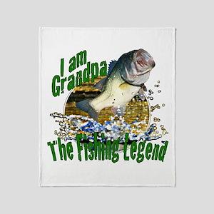 Grandpa the Bass fishing legend Throw Blanket