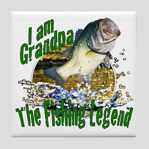 Grandpa the Bass fishing legend Tile Coaster
