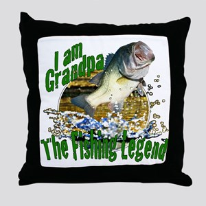 Grandpa the Bass fishing legend Throw Pillow