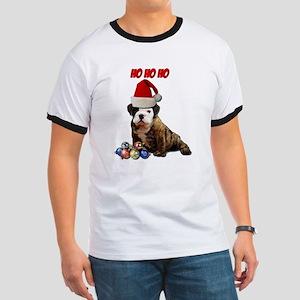Ho Ho Ho Christmas Puppy Ringer T