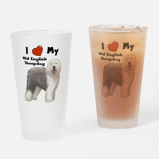 Unique Old english sheepdog Drinking Glass