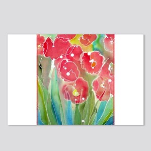 Floral, red flowers, art, Postcards (Package of 8)