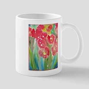 Floral, red flowers, art, Mug