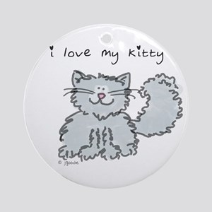 Love My Kitty (gray) Ornament (Round)