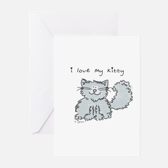 Love My Kitty (gray) Greeting Cards (Pk of 10)