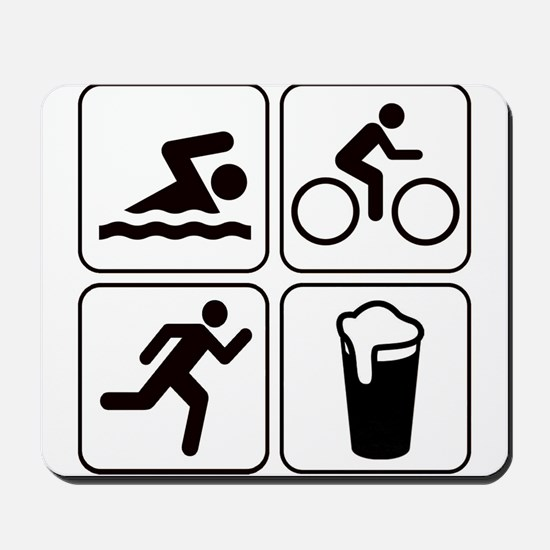 Swim Bike Run Drink Mousepad