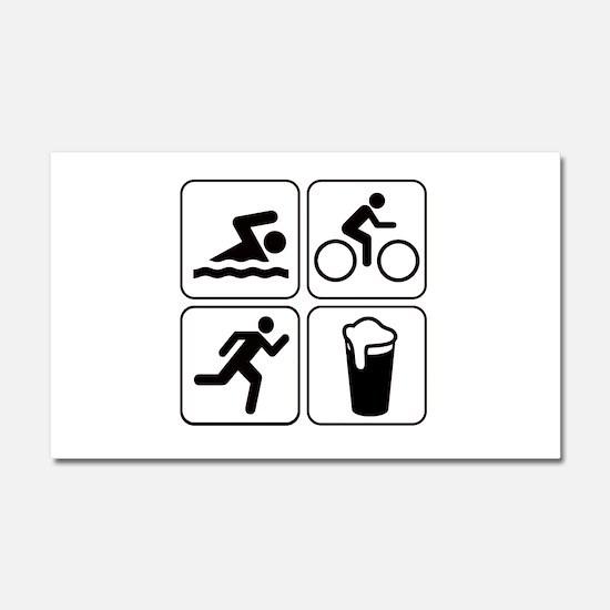 Swim Bike Run Drink Car Magnet 20 x 12
