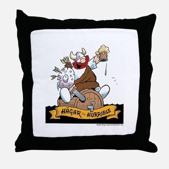 Hagar on Keg Throw Pillow