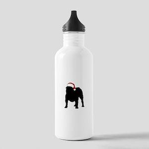 Bulldog Christmas Hat Stainless Water Bottle 1.0L
